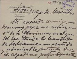 Tarjeta de Mariano Benlliure agradeciendo a Guillermo Fernández-Shaw el artículo que le ha dedicado.