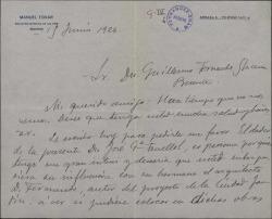 Carta de Manuel Tovar a Guillermo Fernández Shaw, pidiéndole una recomendación para el dador de la misma.