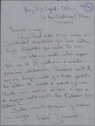 Carta de José Zamora a Guillermo Fernández-Shaw, pidiéndole noticias de su próxima colaboración.