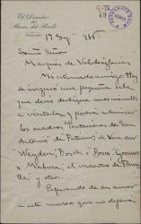 Carta de José Villegas al Marqués de Valdeiglesias, invitándole a visitar una nueva sala del Museo del Prado, que dirige.