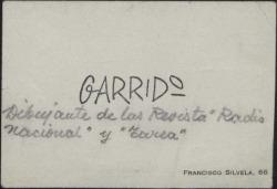 Tarjeta de visita de Garrido.
