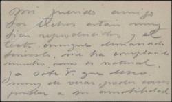 Tarjeta de visita de Álvaro Alcalá Galiano diciendo que le ha complacido cierto escrito sobre una obra suya.