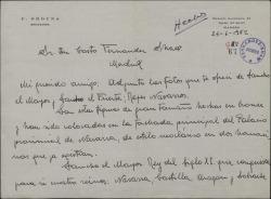 """Carta de F. Orduña a Casto Fernández-Shaw, remitiéndole unas fotografías para la revista """"Cortijos y rascacielos""""."""