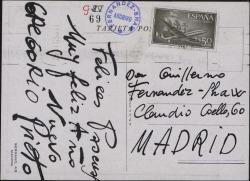 Tarjeta postal de Gregorio Prieto con una reproducción de una obra suya felicitando a Guillermo Fernández-Shaw.