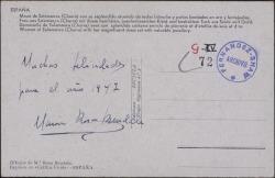Tarjeta postal con una felicitación de año nuevo de María Rosa Bendala.