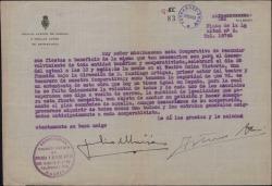 Carta circular a los miembros de una cooperativa firmada por Julio Moisés sobre cierta fiesta benéfica.
