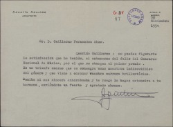 Carta de Agustín Aguirre a Guillermo Fernández-Shaw, felicitándole por el Primer Premio del Concurso Nacional de Música.