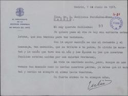 Carta de Julio Cavestany a Guillermo Fernández-Shaw, uniéndose al homenaje dedicado a su padre.