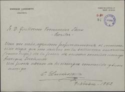 Carta de Enrique Lucchetti a Guillermo Fernández-Shaw, agradeciendo los elogios que le dedica en una narración.