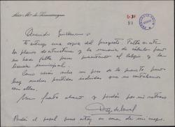 Carta de Diego de Borras a Guillermo Fernández-Shaw, enviando la copia de un proyecto de obra y hablando del presupuesto.