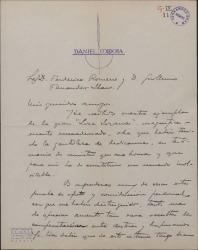 """Carta de Dionisio Cano a Guillermo Fernández-Shaw y Federico Romero, agradeciéndoles el ejemplar de """"Loza lozana"""" que le han enviado dedicado."""