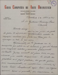 Carta de Ricardo Velasco a Guillermo Fernández-Shaw, comentando el nuevo rumbo de su negocio teatral.