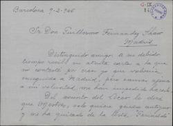 Carta de Santiago Comyn a Guillermo Fernández-Shaw, exponiéndole las condiciones del Teatro del Liceo.