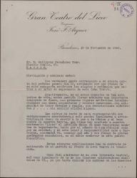 Carta de José F. Arquer a Guillermo Fernández-Shaw, explicándole sus intenciones al frente de la empresa del Teatro del Liceo y refiriéndose a una posible temporada dedicada al género lírico.