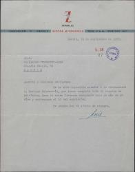 Carta de Luis Sagi-Vela a Guillermo Fernández-Shaw, lamentando no poder atender a un recomendado de éste.