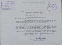 Carta de Juan Camarasa a Guillermo Fernández-Shaw, felicitándole por el nombramiento de Director General de la Sociedad General de Autores de España.