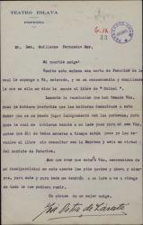 Carta de José Ortiz de Zárate a Guillermo Fernández-Shaw, devolviéndole un libro tal como le ha pedido éste.