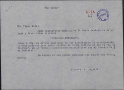 """Cartas sobre la autorización para la inclusión del dúo de """"La revoltosa"""" en la revista """"Campanas de Viena""""."""