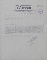 Carta de Gustavo Villasante a Guillermo Fernández-Shaw, agradeciendo su autorización para usar su nombre como Director Artístico en festivales de zarzuela y género chico.