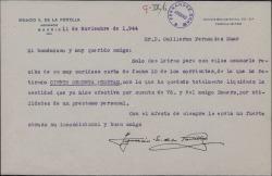 Cartas de Ignacio E. De la Portilla a Guillermo Fernández-Shaw sobre una deuda de éste que queda liquidada.
