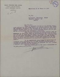 """Cartas de Juan Mestres Calvet a Guillermo Fernández-Shaw sobre la puesta en marcha de la representación de """"Don Lucas del Cigarral"""" en Barcelona."""