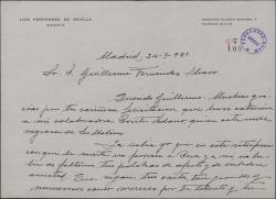 Carta de Luis Fernández de Sevilla a Guillermo Fernández-Shaw, agradeciéndole la felicitación que le ha dirigido a él y a Dorita Sedano y deseándole muchos éxitos.