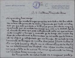 Carta de Mariano Sánchez de Palacios a Guillermo Fernández-Shaw, felicitándole por todos los éxitos y homenajes recibidos.