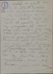 """Carta de Pablo Torremocha a Alberto Escalera, remitiéndole un ejemplar de """"De Seda"""" una obra suya."""