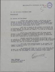 """Carta de Juan Cumellas a Guillermo Fernández-Shaw, felicitándole por el premio a la """"Duquesa del candil"""" y hablando de otros temas."""