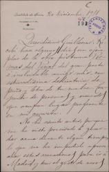 """Carta de José Torres Reina a Guillermo Fernández-Shaw, agradeciéndole el envío de la obra póstuma de su padre """"Poemas del pinar""""."""