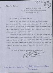 Carta de Alejandro Casona a Guillermo Fernández-Shaw, agradeciéndole su carta y evocando la figura de Luis Araujo Costa.