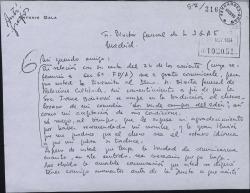 Carta de Antonio Gala a Guillermo Fernández-Shaw, como director de la Sociedad General de Autores, dando su consentimiento para que una obra suya sea traducida al checoslovaco.