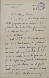 """Carta de Ángel Andrada a Federico Romero, hablando sobre una transcripción de la canción cifrada """"El villano"""" y sus dificultades."""