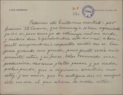 Carta de Luis Germán a Federico Romero y Guillermo Fernández-Shaw, comunicándoles que no puede asistir al homenaje que les han organizado.