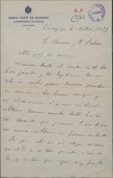 Carta de Sixto Acevedo a Guillermo Fernández-Shaw y Federico Romero, felicitándoles por el éxito de un estreno.
