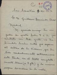 """Carta de Ángel de León a Guillermo Fernández-Shaw, hablándo del éxito de """"La villana"""" y otros temas."""