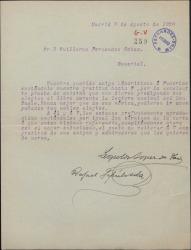 Carta de Leopoldo López de Haro y Rafael Sepúlveda a Guillermo Fernández-Shaw, agradeciéndole los elogios a su libro.