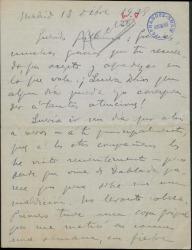 """Carta de Anselmo Alarcón a Guillermo Fernández-Shaw, agradeciéndole sus atenciones, comentándole su estado de salud y deseándole éxito en el estreno de """"La meiga"""""""