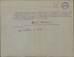 Carta del Sr. Doné [?] a Guillermo Fernández-Shaw, comunicándole que se les ceden los derechos de una obra teatral y el precio de esta cesión.