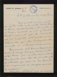 Carta de Ramón María Moreno a Guillermo Fernández-Shaw, lamentando no poder colaborar con él en una obra.