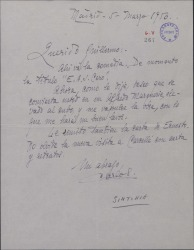 Carta de Carlos [?] a Guillermo Fernández-Shaw, enviándole una comedia suya para que la critique.