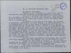Carta de Luis Cambronero a Guillermo Fernández-Shaw, enviándole dos obras para que las lea y corrija.