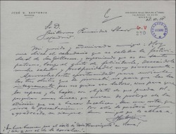 """Carta de José S. Santonja a Guillermo Fernández-Shaw, felicitándole por su onomástica y enviándole tres obras. Aprovecha para felicitarle por el éxito de """"Doña Francisquita"""" en Viena."""