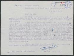 Carta de Enrique Muñoz Gomis a Luis Fernández Ardavín, hablando de poner a un pueblo el nombre de Guadalema en homenaje a los Quintero.