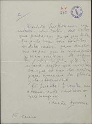 Carta de Tomás Borrás a Guillermo Fernández-Shaw, con motivo del fallecimiento de su hija María Pepa.