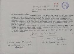 Carta de Juan María Martínez Cachero a Guillermo Fernández-Shaw, acusando recibo de su envío.