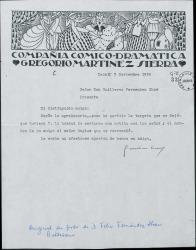 Carta de Gregorio Martínez Sierra a Guillermo Fernández-Shaw, pidiéndole el nombre y las señas de un señor inglés.