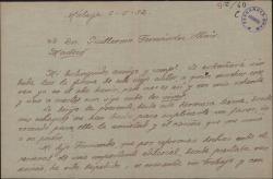Carta de José Jackson a Guillermo Fernández-Shaw, pidiéndole un empleo para su hijo y felicitándole por sus éxitos teatrales.