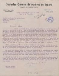 Carta de Miguel Caro a Guillermo Fernández-Shaw, dándole cuenta de sus gestiones en la Sociedad de Autores Argentina.
