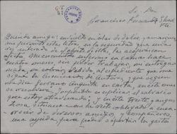 Carta de José María Granada a Guillermo Fernández-Shaw, pidiéndole ayuda económica en una situación angustiosa.